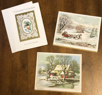 Vtg Lot 3 Greeting Card Christmas Currier & Ives American Scenes & Grandparents