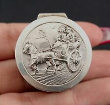 Antique Hallmarked Dutch Silver Repousse, Horse Carriage, Pill Box, NR