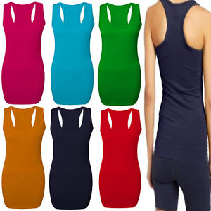 1s Ladies Womens Long Racer Back Bodycon Muscle Vest Top Gym Top Sizes 8-14