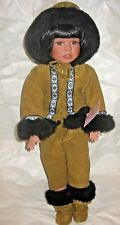 "Eskimo Porcelain Doll Vintage ""Brittany"" 18"" with stand"