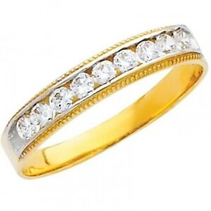 14K Solid Gold .70 Ct Simulated Diamond Wedding Band Milgrain Edge Men's Ring