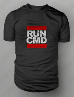 """RUN CMD"" DOS Prompt Geek Old School Retro Clubbing Computer T-Shirt New S-XXL"
