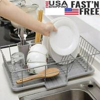 Kitchen Over Sink Dish Drying Rack Cutlery Holder Drainer Organizer Drainer US