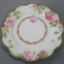 """Antique HAVILAND Porcelain 8.5"""" Plate PINK Drop ROSE GILT Trim * Schleiger 65-6"""