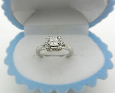 Beautiful Real 10k White Gold Natural Diamonds Halo Style Promise Ring size 7