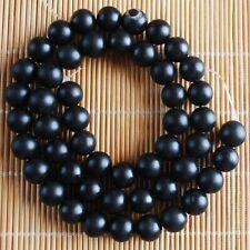 VB2622 8mm Black Matte Agate Ball Loose Beads 15''