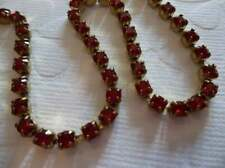3mm Deep Red Rhinestone Chain - Brass Setting - Red Siam Czech Crystals