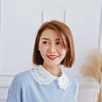 Women Fake Collar Hollow Embroidery Detachable Half Shirts for Matching Tops