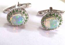 Solid 925 Sterling Silver Natural Gem Stone Opal & Tsavorite Cufflink Jewelry