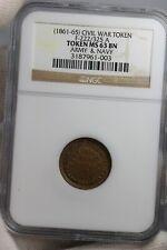 Ngc Ms-63 Bn 1861-1865 Indian Arm & Navy Civil War Token, F-222/325 A Coin