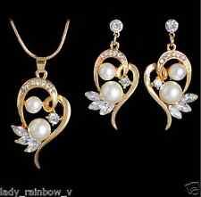 Romantic Heart Design Pendant Necklace Earrings Set Pretty White Pearl Luxury