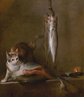 Oil painting jean baptiste simeon chardin - Still Life with Cat and Fish canvas