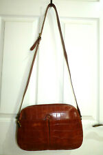 FURLA  Vintage Tan Leather Messenger Cross Body Shoulder Bag with number
