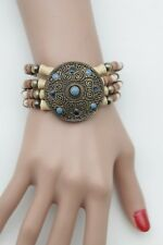 Fun Women Round Antique Gold Metal Charm Blue Bracelet Bohemian Ethnic Jewelry