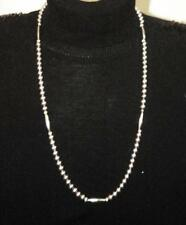 "NEW 32"" STERLING SILVER BEADED STRAND CHAIN NECKLACE"