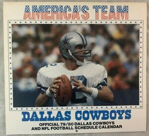 Vintage 1979 1980 Dallas Cowboys NFL Football Schedule Calendar Roger Staubach