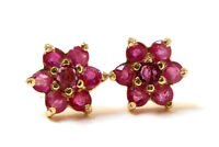 9ct Gold Ruby cluster Stud Earrings Gift Boxed Made in UK Christmas Gift
