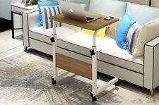 Removable Computer PC Desk Table Office Bedroom Dinner TV Table with wheel White