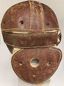 Vintage 1923 GOLDSMITH Model 42B LEATHER FOOTBALL HELMET w/ Chin Strap WINGS