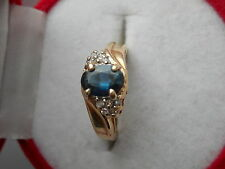 VINTAGE 10K GOLD 7X5MM NATURAL OVAL SAPPHIRE AND DIAMOND RING Sz5.25 NOT SCRAP