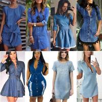 Women Denim Jeans Short Mini Dress Pocket Summer Casual Party T Shirt Dresses US