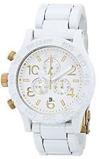 New Authentic Nixon Watch Mens 42-20 Chrono All White / Gold A037-1035 A0371035