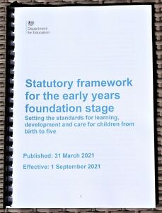 EYFS Foundation Stage Statutory Framework Early Years NEW Sept 2021 FULL COLOUR