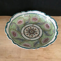 Antique Moriage Bowl Greens & Floral Gold Gilding Hand Painted Scalloped Edge