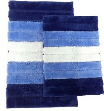 2 Piece High Top Striped Ombree Ultra soft Microfiber Bath rug set Blue / Navy
