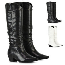 Womens Knee High Boots Low Heel Pointed Toe Ladies Western Pleated Cowboy Size
