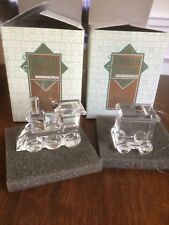 Timeless Treasures Cut Crystal Christmas Train Ornaments Locomotive and Tender