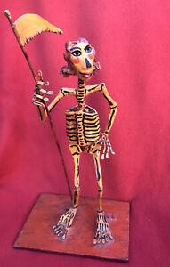Saulo Moreno Mexican Folk Art Alambriode Day Of The Dead Skeleton Reaper Woman