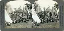 Stereoview Canada QUEBEC Iroquois Indians Rifle Bow Arrow Peace Pipe 20441 fx