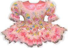"""Brenda"" CUSTOM Fit Lacy Pink PRINCESS Bows Adult Little Girl Sissy Dress LEANNE"