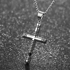 Vintage Stainless Steel Cross Pendant Necklace Jewelry for guy Men Cool Gift