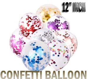 """12"""" Assorted Colour Confetti Clear Latex Balloons Party Decorations -10050 Pack"""