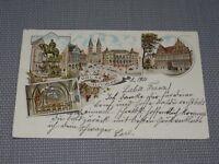 """AK Litho """"Gruß aus Bremen"""" Soldatenbrief gelaufen 1901 Inf. Reg. 75 (K259)"""