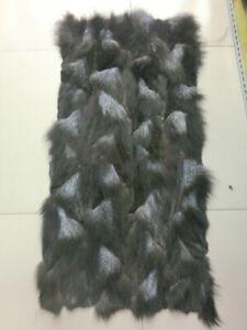 """Real Fox Fur Pelt Skin Hide Blanket Carpet Rug Throw Plate SILVER 37""""x18"""""""