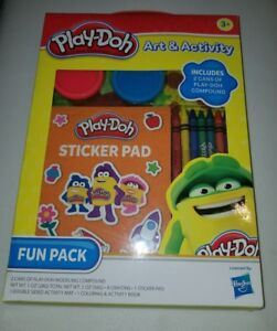 play-doh art & activity fun pack crayons activity pad sticker pad 2 cans