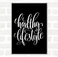 Black White Healthy Lifestyle Quote Jumbo Fridge Magnet