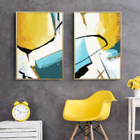 2 Piece Wall Prints - Abstract Yellow Painting Home Decor Digital Art Unframed