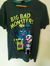 FishBone Big Bad Monsters Cotton Tshirt Sz L Grey