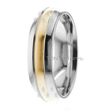 DOME SOLID GOLD TWO TONE MENS WOMENS WEDDING BANDS RINGS COMFORT FIT RING BAND
