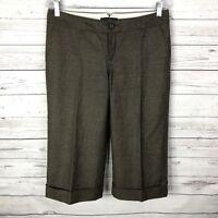 Banana Republic Womens Ryan Fit Cropped Capri Pants Sz 8 Brown Tweed Wool Blend