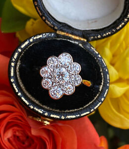 Victorian Daisy Diamond Cluster Platinum Ring 1.20ct