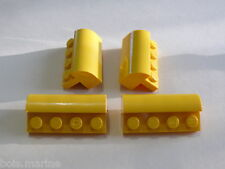 Lego 4 brique jaune 1/4 rond 60061 8484 10184/ 4 yellow brick modified 1/4 round