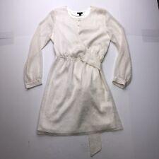 Ann Taylor Petite Women's 10P White Long Sleeve Wrap Dress