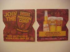 Beer Bar Coaster ~*~ Castlemaine Perkins XXXX Maroon Corp Yeah! ~ Queensland, AU