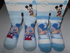 Disney Micky Mouse * 2 x Baby Strümpfe/Socken * 6/12 Monate*Hellblau/weiß*