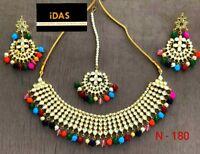 Indian Bollywood Kundan Choker Necklace Earring Tikka Multicolor Jewelry Set -